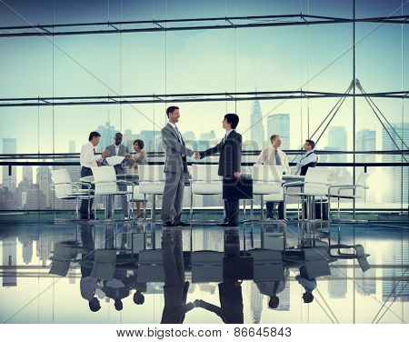 Business People Handshake Discussion Communication Cityscape Meeting Concept