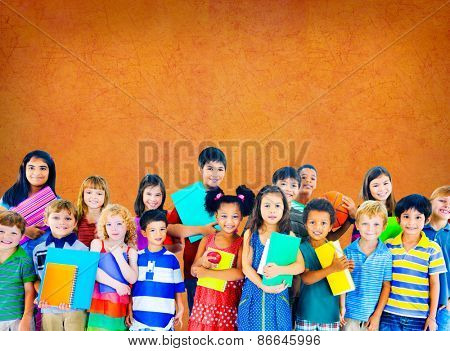 Children Cheerful Studying Education knowledge Concept