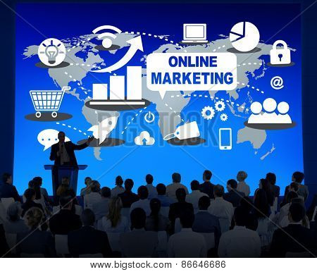 Online Marketing Global  Business Meeting Strategy Concept