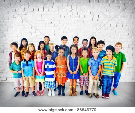Children Kids Cheerful Diversity Happiness Group Concept