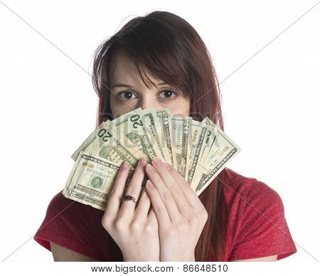 Woman Covering Half Face with 20 US Dollar Bills