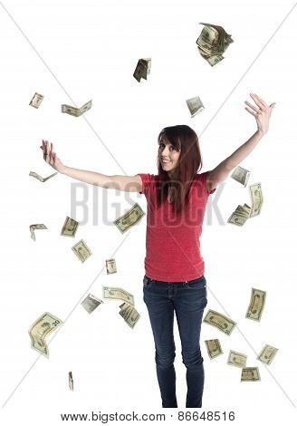 Happy Woman Throwing US Dollar Paper Bills Up