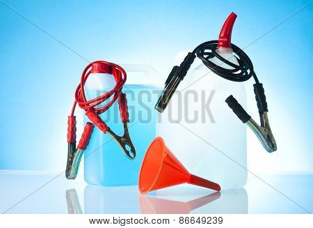 windshield washer fluids and jump start cables