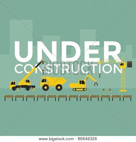 Construction site crane building Under Construction text vector