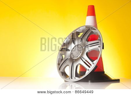 traffic cone and alloy wheel