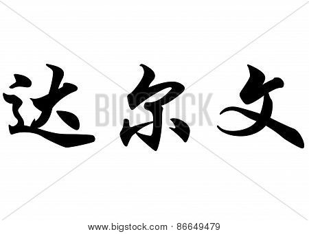 English Name Darwin In Chinese Calligraphy Characters