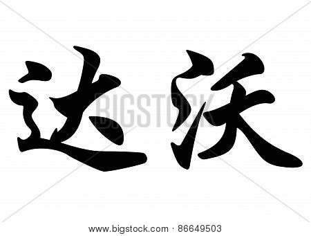 English Name Davor In Chinese Calligraphy Characters