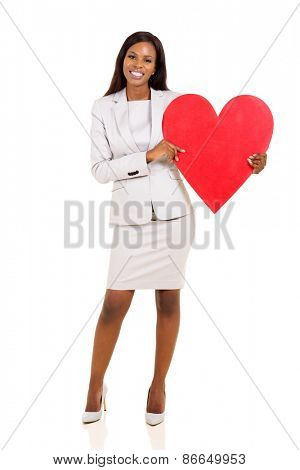 young african woman holding red heart shape on white background