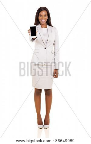pretty african businesswoman showing smart phone isolated on white background