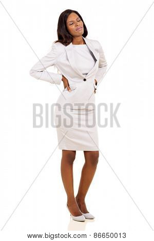 young african businesswoman having back pain isolated on white background