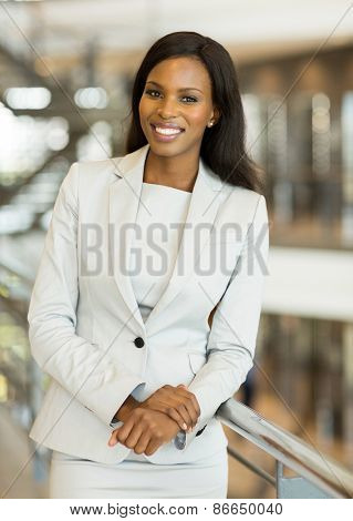 cheerful young afro american business woman