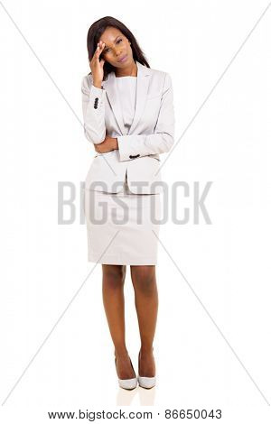 sad african american businesswoman having headache on white background