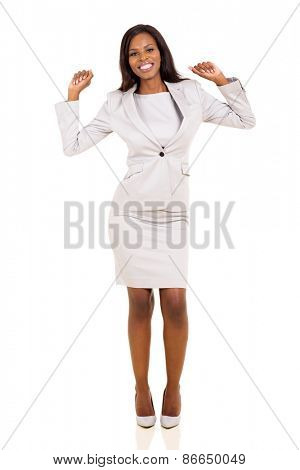 successful young african business woman dancing