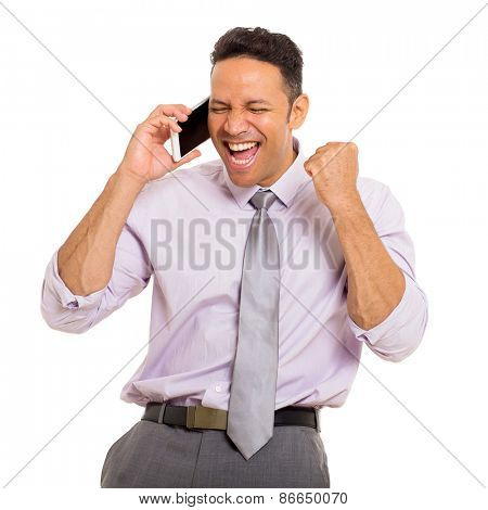 excited middle aged man talking on cell phone