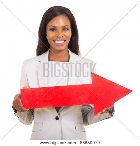 portrait of african american woman with red direction arrow on white background