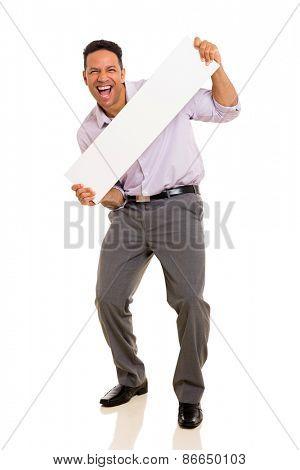 joyful man presenting blank white board