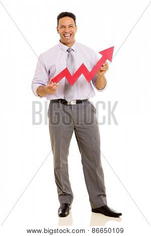 cheerful middle aged businessman with growth arrow