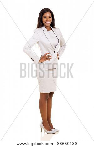side view of attractive young afro american career woman