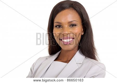 close up portrait of happy young african american businesswoman