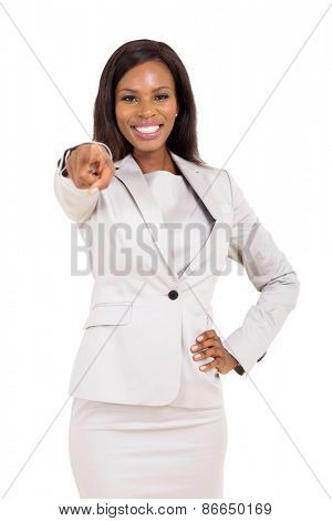 cheerful african american woman pointing at the camera on white background
