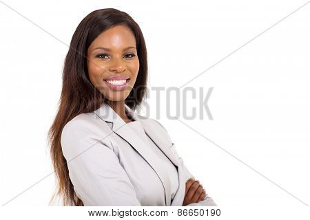 confident young african american woman isolated on white background
