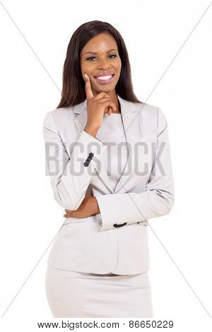 beautiful young african businesswoman isolated on white