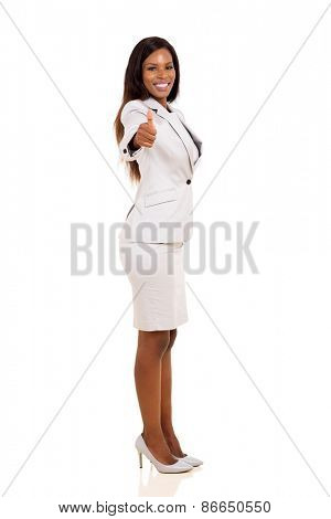happy afro american businesswoman giving thumbs up on white background