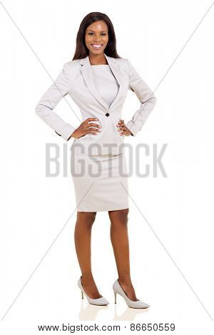 confident young african american businesswoman on white background