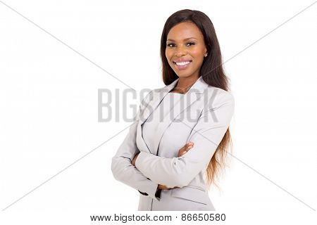 pretty african businesswoman with arms crossed on white background