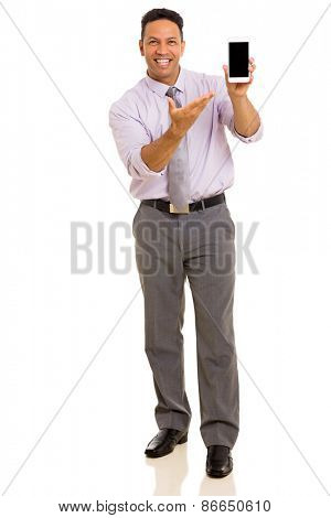 happy man presenting smart phone over white background