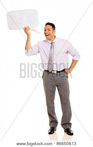 mid age man screaming in speech bubble isolated on white background