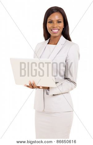 happy african american career woman using laptop on white background