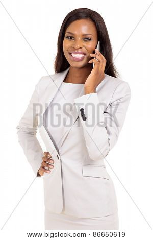 happy young african business woman talking on cell phone