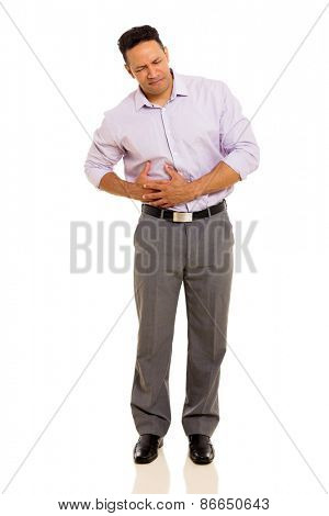 mid age man having stomach ache isolated on white background