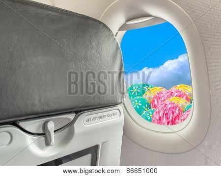 Image Of  Easter Egg In The Sky And Fasten Seat Belt While Seated Sign On Airplane .