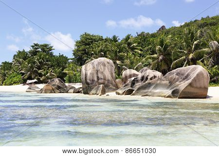 Beautiful huge granite boulders on the beach Anse Source DArgent