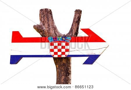 Croatia wooden sign isolated on white background