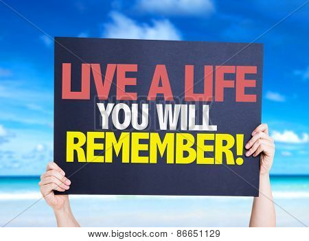 Live a Life You Will Remember card with beach background