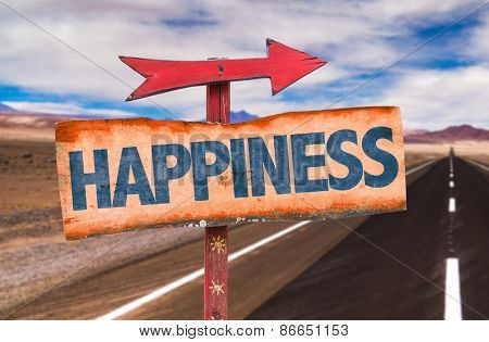 Happiness sign with road background