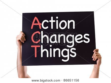 Action Changes Things card isolated on white