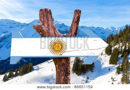 Argentina wooden sign with alps background