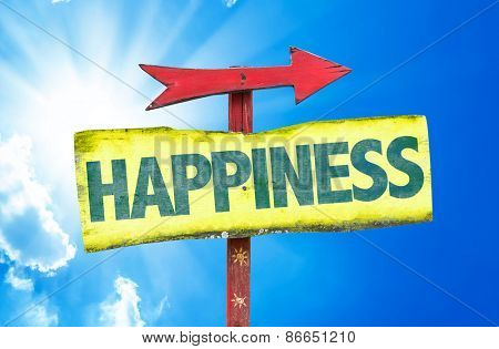 Happiness sign with sky background