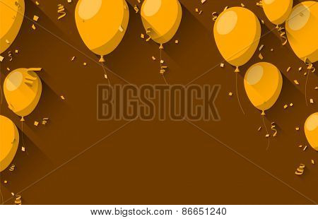 Celebration orange background with flat balloons and confetti. Vector illustration.