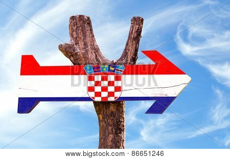 Croatia wooden sign with sky background