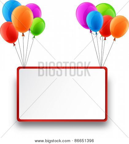 Celebration frame background with colorful balloons. Vector illustration.
