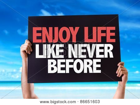 Enjoy Never Like Never Before card with beach background