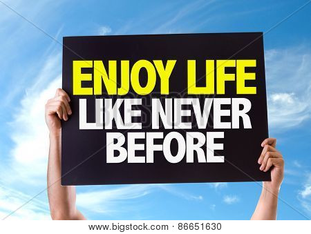 Enjoy Never Like Never Before card with sky background