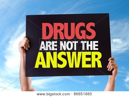 Drugs Are Not The Answer card with sky background