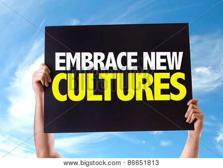 Embrace New Cultures card with sky background
