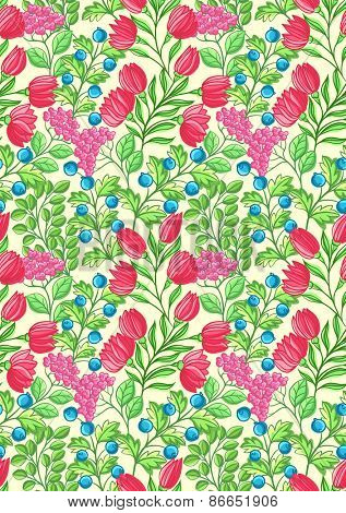 Floral seamless pattern with lot of small flowers, berries and leaves.